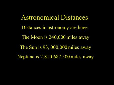 Astronomical Distances Distances in astronomy are huge The Moon is 240,000 miles away The Sun is 93, 000,000 miles away Neptune is 2,810,687,500 miles.