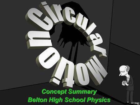 Concept Summary Belton High School Physics. Circular Motion Terms The point or line that is the center of the circle is the axis of rotation.The point.