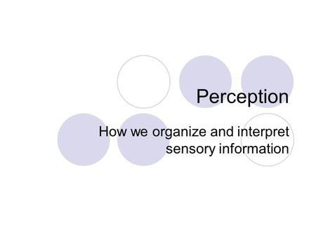 How we organize and interpret sensory information