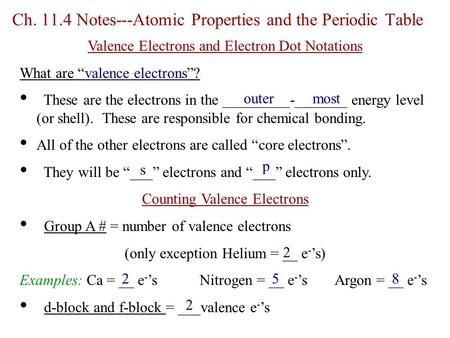 Ch Notes---Atomic Properties and the Periodic Table
