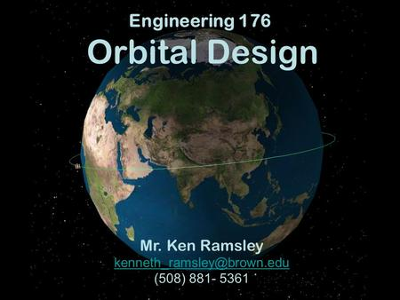 Engineering 176 Orbital Design