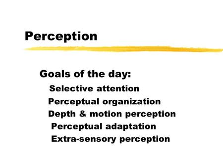 Perception Goals of the day: Selective attention Perceptual organization Depth & motion perception Perceptual adaptation Extra-sensory perception.