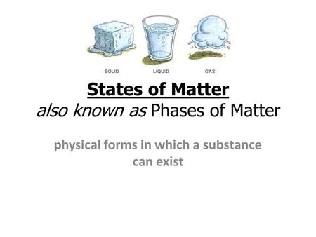 States of Matter also known as Phases of Matter physical forms in which a substance can exist.