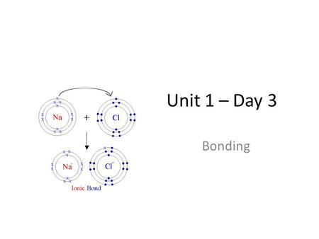 Unit 1 – Day 3 Bonding.