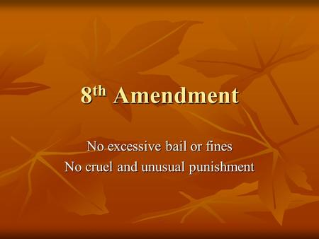 8 th Amendment No excessive bail or fines No cruel and unusual punishment.