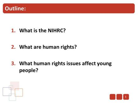 Outline: 1.What is the NIHRC? 2.What are human rights? 3.What human rights issues affect young people? 1.
