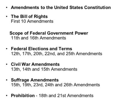 Amendments to the United States Constitution