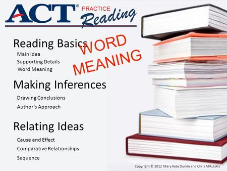 PRACTICE Reading Reading Basics Making Inferences Relating Ideas Main Idea Supporting Details Word Meaning Drawing Conclusions Author's Approach Cause.