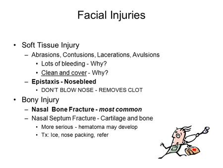 Facial Injuries Soft Tissue Injury –Abrasions, Contusions, Lacerations, Avulsions Lots of bleeding - Why? Clean and cover - Why? –Epistaxis - Nosebleed.