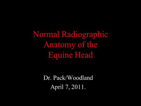 Normal Radiographic Anatomy of the Equine Head Dr. Pack/Woodland April 7, 2011.