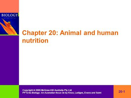 20-1 Copyright  2005 McGraw-Hill Australia Pty Ltd PPTs t/a Biology: An Australian focus 3e by Knox, Ladiges, Evans and Saint Chapter 20: Animal and human.