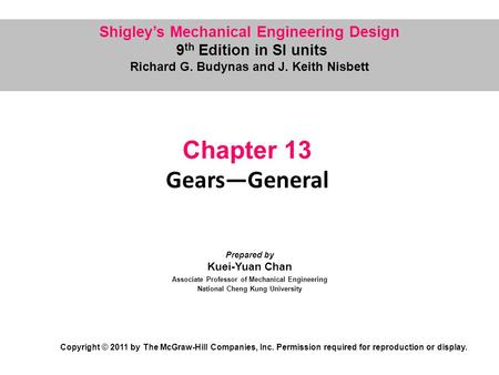 Chapter 13 Gears—General