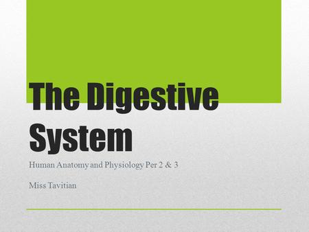 The Digestive System Human Anatomy and Physiology Per 2 & 3 Miss Tavitian.