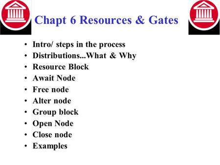 Chapt 6 Resources & Gates Intro/ steps in the process Distributions...What & Why Resource Block Await Node Free node Alter node Group block Open Node Close.