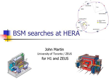 BSM searches at HERA John Martin University of Toronto / ZEUS for H1 and ZEUS.