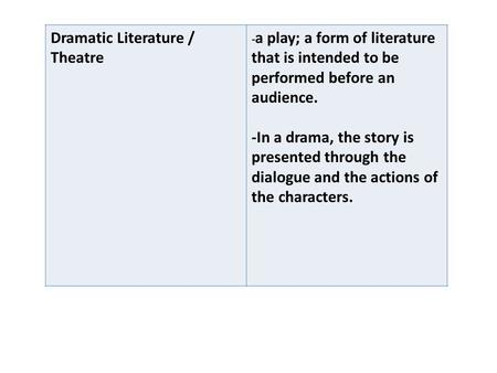 Dramatic Literature / Theatre - a play; a form of literature that is intended to be performed before an audience. -In a drama, the story is presented through.