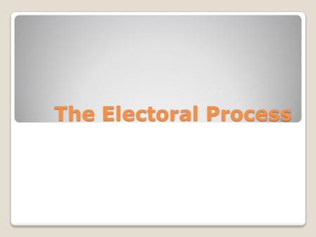 The Electoral Process. Reading Today's Reading When it is your turn to read, stand up. Make sure no one else is talking. Read loudly and clearly so the.