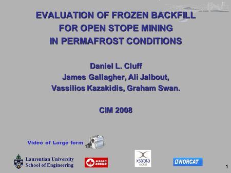 Laurentian University School of Engineering Laurentian University School of Engineering Laurentian University School of Engineering 1 EVALUATION OF FROZEN.
