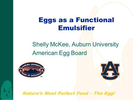 Nature's Most Perfect Food – The Egg! Eggs as a Functional Emulsifier Shelly McKee, Auburn University American Egg Board.