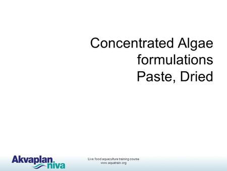 Concentrated Algae formulations Paste, Dried
