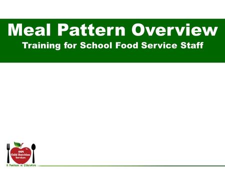 Training for School Food Service Staff