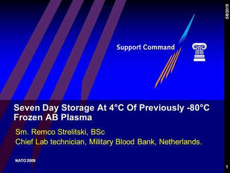 1 5/8/2015 Seven Day Storage At 4°C Of Previously -80°C Frozen AB Plasma Sm. Remco Strelitski, BSc Chief Lab technician, Military Blood Bank, Netherlands.