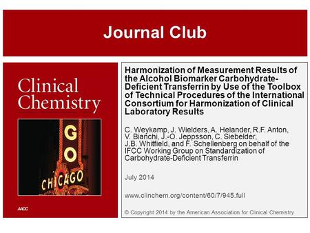 Harmonization of Measurement Results of the Alcohol Biomarker Carbohydrate- Deficient Transferrin by Use of the Toolbox of Technical Procedures of the.