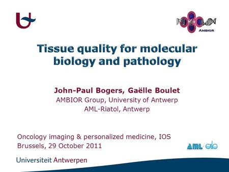 John-Paul Bogers, Gaëlle Boulet AMBIOR Group, University of Antwerp AML-Riatol, Antwerp Oncology imaging & personalized medicine, IOS Brussels, 29 October.