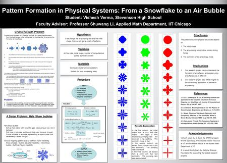 Pattern Formation in Physical Systems: From a Snowflake to an Air Bubble Student: Vishesh Verma, Stevenson High School Faculty Advisor: Professor Shuwang.