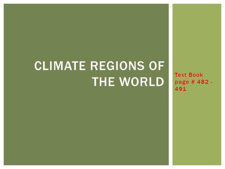 Climate Regions of the World