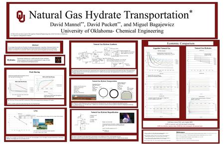 Natural Gas Hydrate Transportation * David Mannel **, David Puckett **, and Miguel Bagajewicz University of Oklahoma- Chemical Engineering Abstract We.