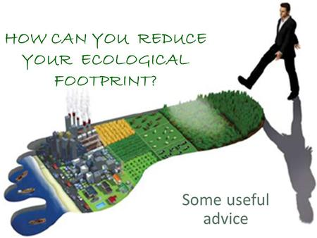 HOW CAN YOU REDUCE YOUR ECOLOGICAL FOOTPRINT? Some useful advice.