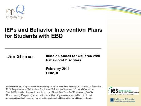 IEPs and Behavior Intervention Plans for Students with EBD