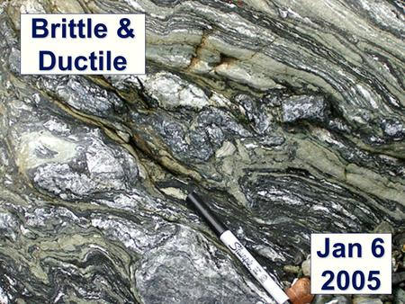 "Brittle & Ductile Jan 6 2005. Three ""directions"" of stress Compression Tension Shear Materials may react differently to different stresses."