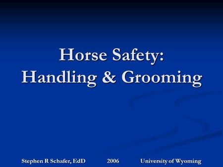 Horse Safety: Handling & Grooming Stephen R Schafer, EdD 2006 University of Wyoming.