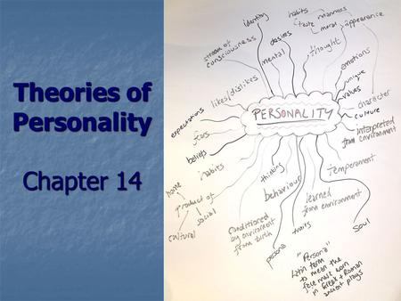 Theories of Personality Chapter 14. Personality The totality of behavioral characteristics that set people apart from others. (feelings, motives, behaviors)