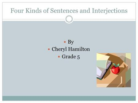 Four Kinds of Sentences and Interjections By Cheryl Hamilton Grade 5.