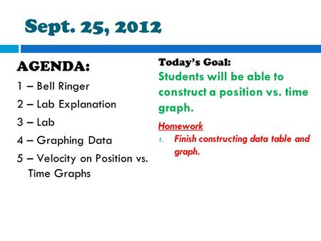 Sept. 25, 2012 AGENDA: 1 – Bell Ringer 2 – Lab Explanation 3 – Lab 4 – Graphing Data 5 – Velocity on Position vs. Time Graphs Today's Goal: Students will.