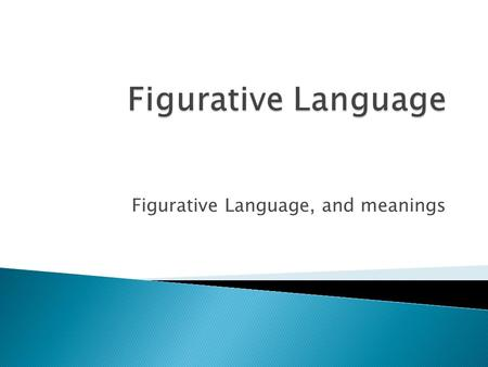 Figurative Language, and meanings.  Figurative Language is when a word or phrase doesn't mean exactly what it says.  Ex: If I don't do my homework;