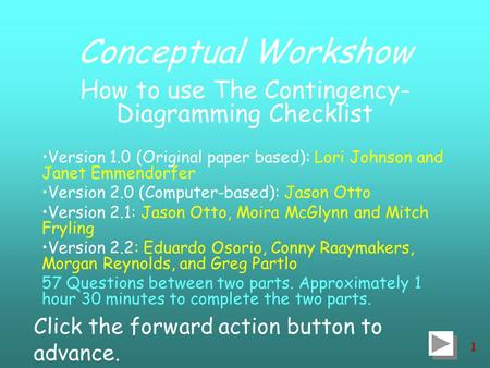 1 Conceptual Workshow How to use The Contingency- Diagramming Checklist Version 1.0 (Original paper based): Lori Johnson and Janet Emmendorfer Version.