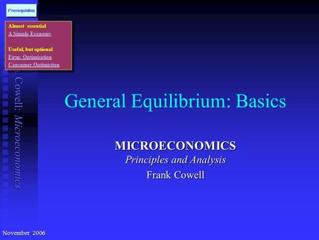 Frank Cowell: Microeconomics General Equilibrium: Basics MICROECONOMICS Principles and Analysis Frank Cowell Almost essential A Simple Economy Useful,