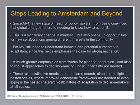 11 Steps Leading to Amsterdam and Beyond A much greater emphasis on frameworks for planned adaptation, and also to robust approaches to decision-making.
