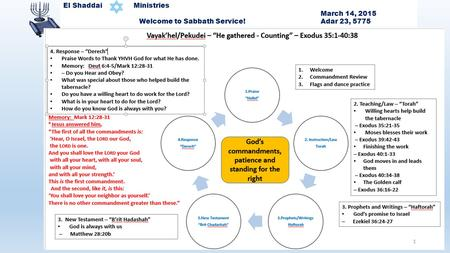 1 El Shaddai Ministries March 14, 2015 Welcome to Sabbath Service! Adar 23, 5775 1.