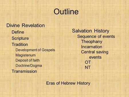 Divine Revelation Define Scripture Tradition Development of Gospels Magisterium Deposit of faith Doctrine/Dogma Transmission Outline Salvation History.