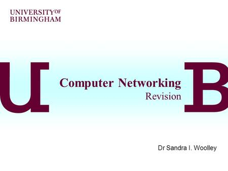 Computer Networking Revision Dr Sandra I. Woolley.