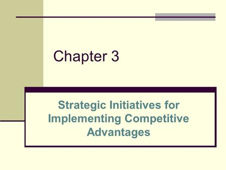 Chapter 3 Strategic Initiatives for Implementing Competitive Advantages.