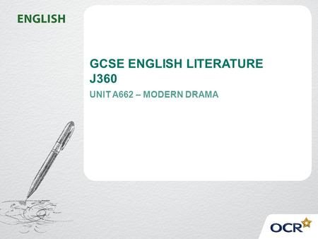 GCSE ENGLISH LITERATURE J360 UNIT A662 – MODERN DRAMA.