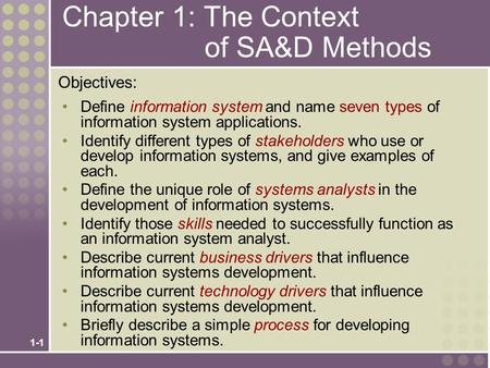 Chapter 1: The Context of SA&D Methods