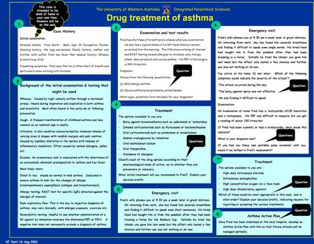 Drug treatment of asthma The University of Western Australia Integrated Paraclinical Sciences Case History Initial consultation: Personal details: Fred.
