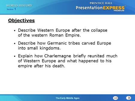 Section 1 The Early Middle Ages Describe Western Europe after the collapse of the western Roman Empire. Describe how Germanic tribes carved Europe into.
